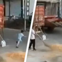 Parents Watch Child Get Run Over By Combine Harvester While Making Miraculous Escape