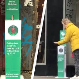 Climate Activists Cover Public With Fake Blood In Hand Sanitiser Trick