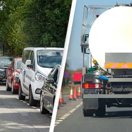 Motorists Desperate For Petrol Follow Tanker To Building Site