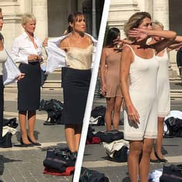 Flight Attendants Strip To Their Underwear To Protest Job Losses