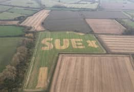 Search To Find Mysterious 'Sue' After Name Appears In Crops
