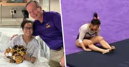 Gymnast Who Dislocated Both Knees In Horror Fall Smiles From Hospital Bed Before Surgery