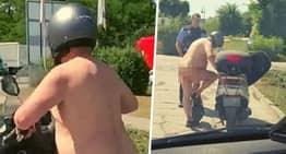Man Avoids Arrest For Riding Moped Naked Because 'It's Too Hot'