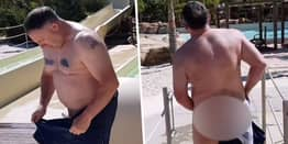 Dad Walks Naked Through Water Park After Son-In-Law Pranked Him With Dissolving Shorts