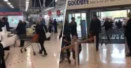 Health Workers Greeted With Applause As They Enter Supermarket
