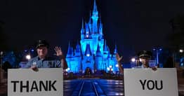 Cinderella's Castle At Disney World Lit Up Blue To Honour Healthcare Workers