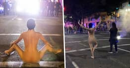 Naked Woman Squares Up To Police During Black Lives Matter Protest