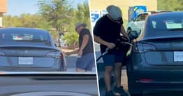 Baffled Driver In Las Vegas Tries To Fill Up His Tesla With Petrol Before Realising It's An Electric Car