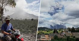 Mount Sinabung Erupts Spewing Ash Three Miles Into The Air