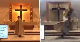 Live-Streamed Mass Shows Priest Fleeing As Beirut Blast Shakes Church