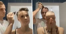 Boyfriend Shaves Girlfriend's Head Then Immediately Cuts His Own To Show Support