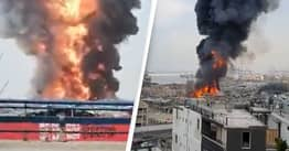 Huge Fire At Beirut Port Just One Month After Catastrophic Explosion