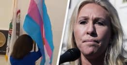 Transgender Flag Put Outside Marjorie Taylor Greene's Office After She Tries To Block Equality Act