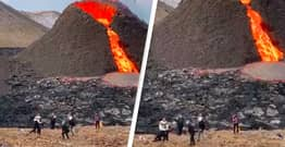 People Playing Volleyball Outside Erupting Volcano 'Is Most Icelandic Scene Ever'
