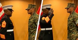 Marine Father Gives Emotional First Salute To Son After He's Promoted To Commissioned Officer