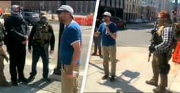 Furious Bystander Confronts Armed Protestors Outside Michigan Police Station