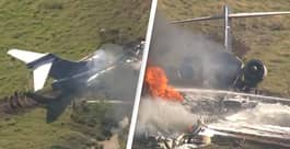Plane Carrying 21 People Crashes Outside Houston And Bursts Into Flames