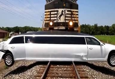 This Limo Gets Nailed By A 10K Tonne Freight Train