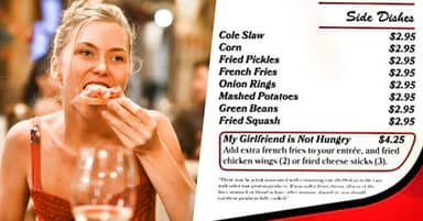 Restaurant Offers Extra Sides Menu For Guys Whose Girlfriends 'Aren't Hungry'