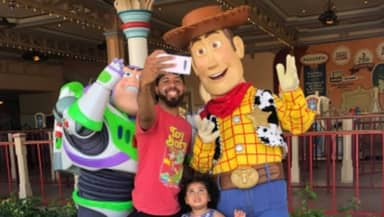 Dad More Excited Than Daughter Meeting Woody And Buzz At Disneyland