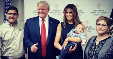 Grinning Trump Gives Thumbs-Up With Baby Whose Parents Were Killed In El Paso