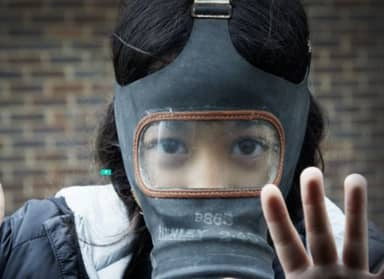 School Kids Protest Climate Change By Wearing Gas Masks