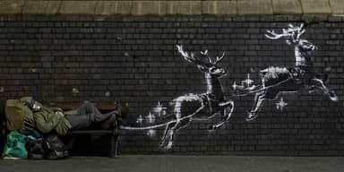 Banksy Highlights Homelessness With Birmingham Christmas Mural
