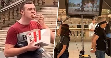 Man Feasts On KFC Chicken In Middle Of Vegan Protest