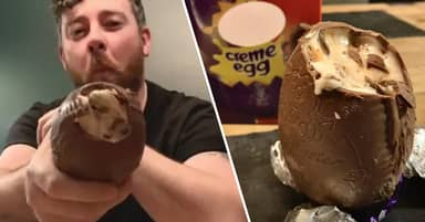 Man Creates Colossal Creme Egg Using 32 Normal-Sized Eggs