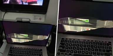 Plane Passenger's MacBook Screen Destroyed After Person In Front Reclines