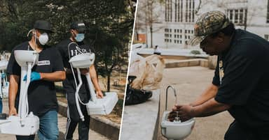 Former Homeless Man Providing Sinks And Soap So Those On Streets Can Wash Their Hands