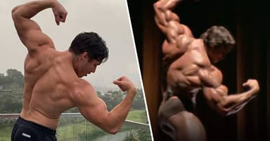 Arnold Schwarzenegger's Son Joseph Is His Spitting Image As He Recreates Bodybuilding Pose