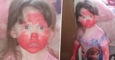 Mum Catches Kid Red-Faced At End Of 'Trail Of Destruction' After She Got Into Her Lipstick