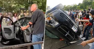 Man Who Threatened Protestors With Bow And Arrow Has His Car Flipped