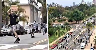 Skate For Peace Protesters Ride To Support Black Lives Matter Movement