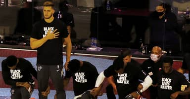 Meyers Leonard Second NBA Player To Stand For National Anthem Since League Reopening
