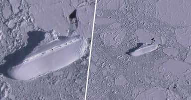 Mysterious 400ft Ice Ship Discovered In Iceberg By Google Earth Users