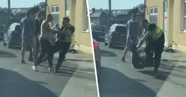 South Wales Police Officer Floors Two People After Woman Punches Him In The Head