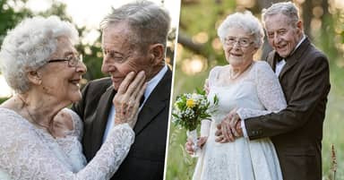 Husband And Wife Who've Been Married 60 Years Recreate Wedding Photos For Anniversary