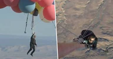 David Blaine Completes Ascension Stunt Flying 24,000ft In The Air Using Helium Balloons
