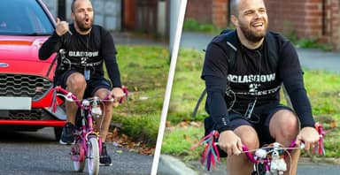 Dad Cycles More Than 200 Miles On Daughter's Pink Bike For Charity