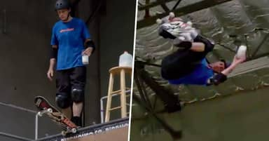 Tony Hawk Pulls Off Incredible Trick While Holding A Glass Of Milk