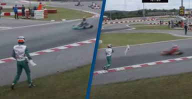 Racing Driver Attacks Man Who Forced Him Off Track Twice Using His Kart's Bumper