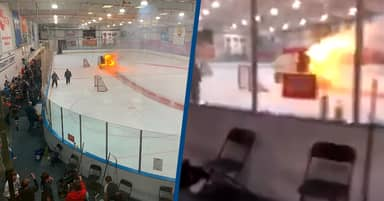 Ice Resurfacer Bursts Into Flames On An Ice Hockey Rink