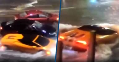 Lamborghini Becomes Submarine Through Flooded Streets Of Florida
