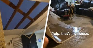 Man Shows How Much Damage Storm Did To His Home After It Tears Roof Off