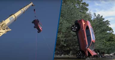 Volvo Drops Its Cars 98ft To Help Swedish Rescue Teams Train