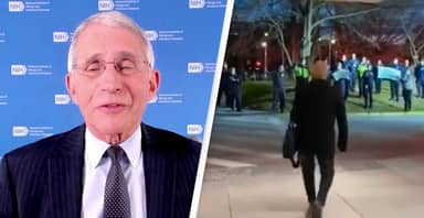 First Responders Sing To Dr. Fauci As He Leaves Work On 80th Birthday