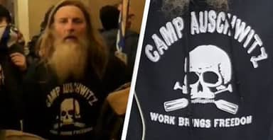 Man Pictured Wearing 'Staff' Of 'Camp Auschwitz' Hoodie Inside US Capitol