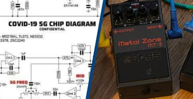 Conspiracy Theorists Mocked For 'COVID-19 5G Chip' Blueprint That's Actually A Guitar Pedal